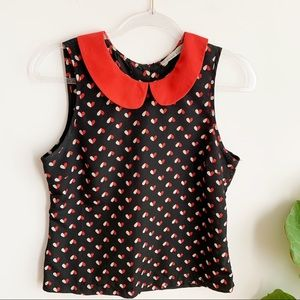 Sans Souci Cropped Red Black Top Back Buttons M